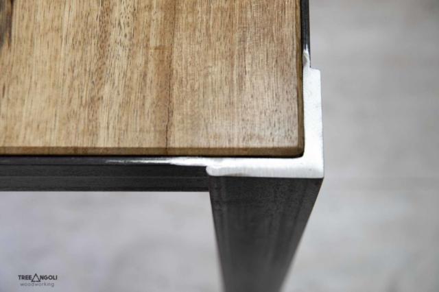 Tavolo in legno massello e ferro 2mt x 80 cm - spess. 5 cm